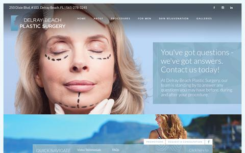 Screenshot of FAQ Page delrayplasticsurgery.com - Delray Beach Plastic Surgery | Cosmetic Surgeons | (561) 278-3245Frequently Asked Plastic Surgery Questions | Delray Plastic Surgery - captured Oct. 8, 2018