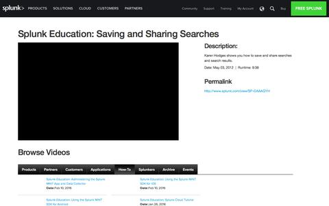 Saving and Sharing Searches in Splunk