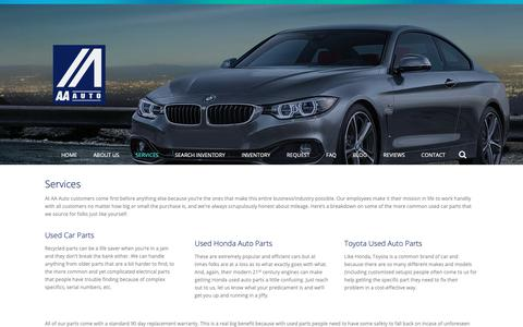 Screenshot of Services Page aaforeign.com - Trust the Top Salvage Yard for Quality Parts | AA Foreign Auto Parts - captured Oct. 2, 2018