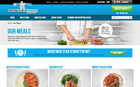 Screenshot of Menu Page musclemealsdirect.com.au - Our Meals - captured Oct. 18, 2018