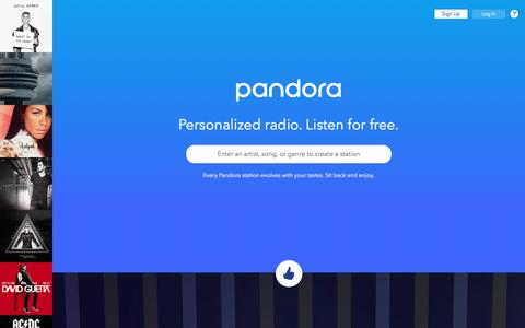 Screenshot of Home Page Signup Page pandora.com - Pandora Radio - Listen to Free Music You'll Love. - captured Nov. 12, 2016