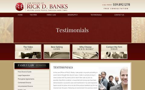 Screenshot of Testimonials Page rickbankslaw.com - Fresno Divorce Attorney Testimonials - Law Offices of Rick D. Banks - captured Oct. 2, 2014
