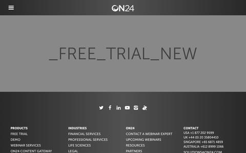 Screenshot of Trial Page on24.com - Free Trial of Leading Webinar Marketing Platform | Best Webinar Platforms | ON24 - captured June 12, 2018