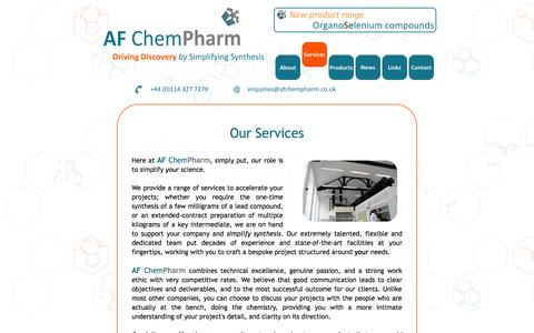 Screenshot of Services Page afchempharm.co.uk - AF ChemPharm | Custom synthesis, contract research and consultancy | Services - captured Sept. 30, 2014