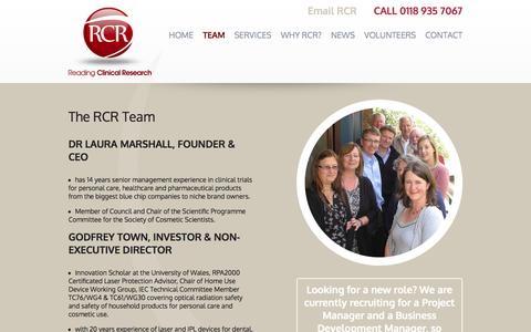 Screenshot of Team Page readingclinical.co.uk - The RCR Team - captured Oct. 7, 2014