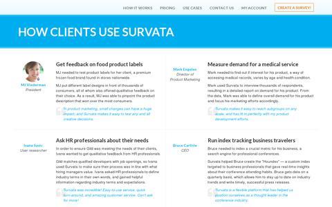 Screenshot of Testimonials Page survata.com - Survata: Testimonials - captured July 20, 2014