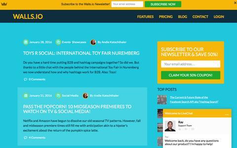 Screenshot of Blog walls.io - Your Hashtags Unleashed |Walls.io Blog - captured Feb. 3, 2016