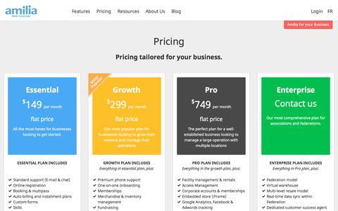 Screenshot of Pricing Page amilia.com - Pricing | Amilia - captured Nov. 20, 2016