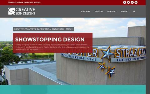 Screenshot of Home Page creativesigndesigns.com - Creative Sign Designs | Consult. Design. Fabricate. Install. - captured Feb. 21, 2016