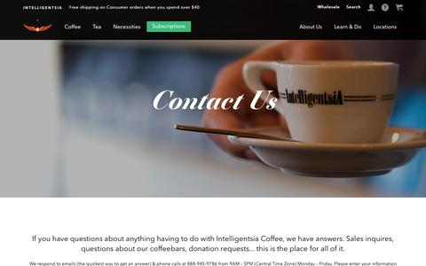 Screenshot of Contact Page intelligentsiacoffee.com - Contact Us - captured Dec. 9, 2016