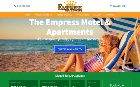 Screenshot of Home Page empressmotel.com - Ocean City MD Motel Empress Motel and Apartments | Rooms - captured July 3, 2018