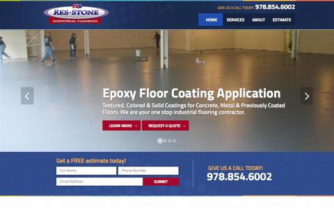 Screenshot of Home Page res-stone.com - Industrial Flooring Contractor, Concrete Floor Coatings Boston, MA, NH, RI |  Res-Stone - captured June 21, 2015