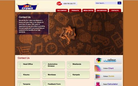 Screenshot of Contact Page crownpaints.co.ke - Crown Paints Kenya Ltd  - Contact Us - captured Sept. 23, 2014