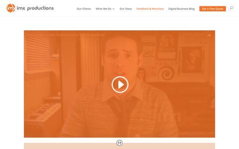 Screenshot of Testimonials Page imxproductions.com - Ottawa video production client testimonials - captured May 25, 2017