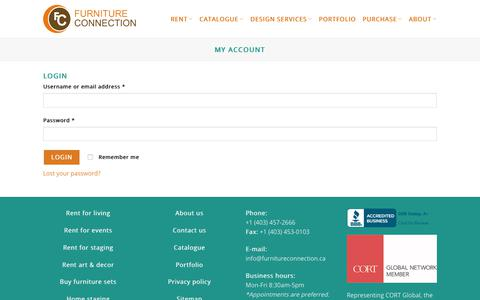 Screenshot of Login Page furnitureconnection.ca - My Account - Furniture Connection - captured Sept. 2, 2018
