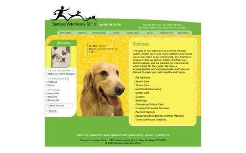 Screenshot of Services Page campusveterinary.com - Campus Veterinary Clinic · Services - captured Oct. 1, 2014