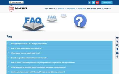 Screenshot of FAQ Page crigroups.com - CRI GROUPS – R&D, Research and Development, manufacturers, 	Coimbatore, Tamilnadu, India - captured March 1, 2016