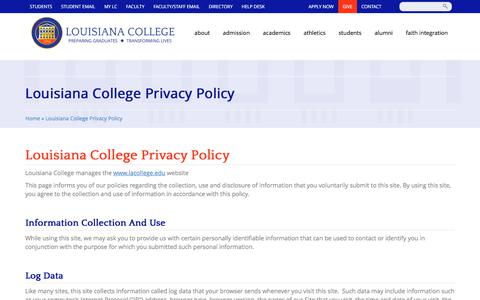 Screenshot of Privacy Page lacollege.edu - Louisiana College Privacy Policy   Louisiana College - captured Aug. 31, 2017