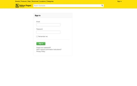 Screenshot of Login Page yp.com.kh - Cambodia Yellow Pages - captured Oct. 22, 2014