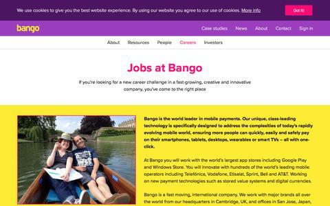 Screenshot of Jobs Page bango.com - Careers   Bango - captured Feb. 4, 2017
