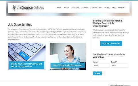 Screenshot of Jobs Page clinsourcepartners.com - Job Opportunities | ClinSource Partners - captured Sept. 30, 2014