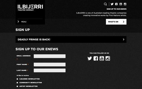 Screenshot of Signup Page ilbijerri.com.au - Sign Up - ILBIJERRI Theatre Company - captured Nov. 11, 2018