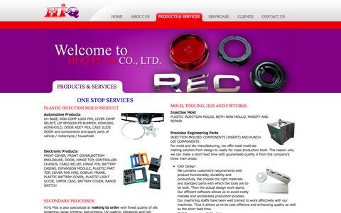 Screenshot of Services Page hiqplas.com - Products & Services | www.hiqplas.com - captured Oct. 2, 2014