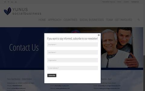 Screenshot of Contact Page yunussb.com - Contact Us - Yunus Social Business - captured Nov. 26, 2015