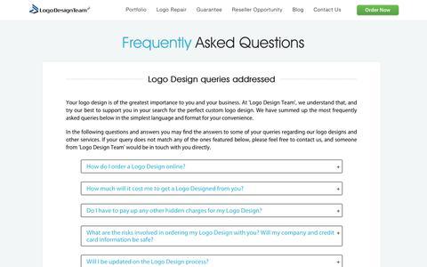 Screenshot of FAQ Page logodesignteam.com - FAQ - Frequently Asked Questions - Custom Logo Design by Logo Design Team - captured Oct. 31, 2019