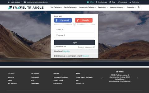 Screenshot of Login Page traveltriangle.com - Sign In - TravelTriangle - captured May 2, 2017