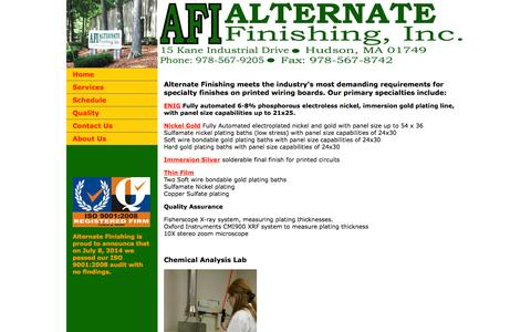 Screenshot of Services Page alternatefinishing.com - Alternate Finishing - Services - captured Oct. 4, 2014
