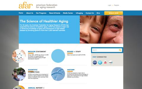 Screenshot of About Page afar.org - American Federation for Aging Research  : About Us - captured Oct. 4, 2014
