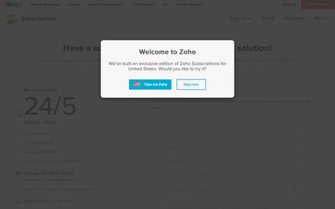 Screenshot of Support Page zoho.com - Contact Us | Zoho Subscriptions - captured Oct. 9, 2018