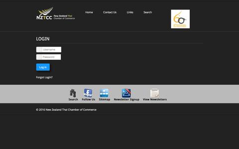 Screenshot of Login Page nztcc.org - New Zealand Thai Chamber of Commerce - captured Dec. 1, 2016