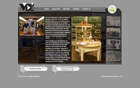Screenshot of About Page vdiinc.com - About VDI - fixture manufacturing, store fixtures, POP displays, custom signage - captured Oct. 9, 2014
