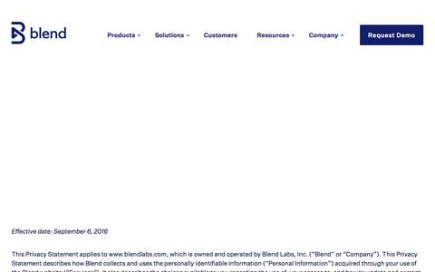 Screenshot of Privacy Page blend.com - Privacy Policy - Blend - captured Sept. 14, 2019