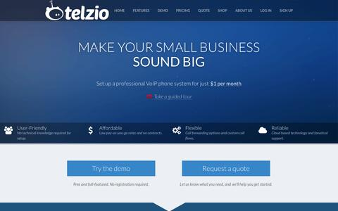 Screenshot of Home Page Pricing Page telzio.com - Small Business VoIP Phone System from $1/month - captured Oct. 1, 2014