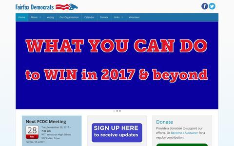 Screenshot of Home Page fairfaxdemocrats.org - Fairfax Democrats - captured Oct. 13, 2017