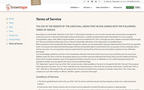 Screenshot of Terms Page browntape.com - Terms of Service – Browntape - captured Sept. 23, 2018
