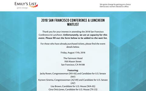 Screenshot of Landing Page emilyslist.org - EMILY's List  |  San Francisco Conference & Luncheon 2018 Waitlist - captured Aug. 27, 2018