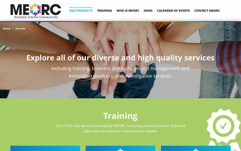 Screenshot of Products Page meorc.com - Services | Mid-East Ohio Regional Council - captured July 5, 2017