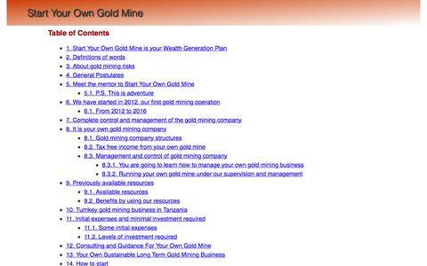 Screenshot of Home Page startyourowngoldmine.com - Start Your Own Gold Mine - captured Dec. 17, 2016