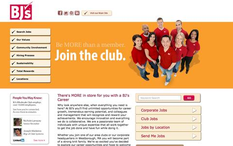 Screenshot of Home Page Jobs Page careersatbjs.com - Home | Careers at BJ's Wholesale Club - captured Sept. 18, 2014