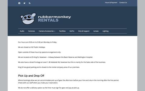 Screenshot of Hours Page rubbermonkeyrentals.co.nz - Hours – Rubber Monkey Rentals - captured Jan. 25, 2018