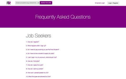 Screenshot of FAQ Page partimestudent.com - ParTime Student - Search for jobs near you and apply now - captured Dec. 7, 2015