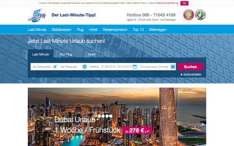 Screenshot of Home Page 5vorflug.de - Last Minute Urlaub 5vorFlug® - Lastminute Flüge & Schnäppchenreisen - captured Sept. 22, 2018