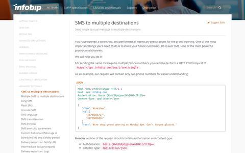 SMS to multiple destinations · SMS API | Infobip