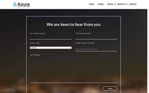 Screenshot of Contact Page azure-capital.com - Azure Capital » Contact - captured Oct. 4, 2014