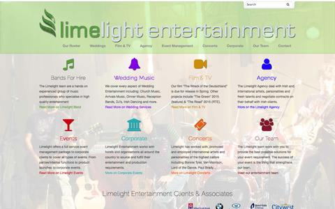 Screenshot of Home Page limelightgroup.ie - Home - Limelight Group - captured Jan. 23, 2015