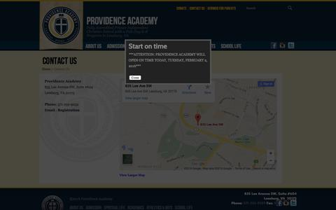 Screenshot of Contact Page providenceacademyva.org - Contact Us (Providence Academy VA) - captured Feb. 2, 2016